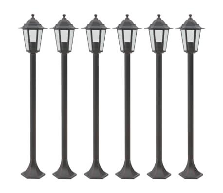 vidaXL dārza lampas, 6 gab., bronzas krāsa, 110 cm, alumīnijs, E27[1/8]