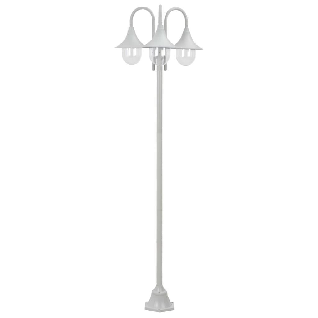 vidaXL Candeeiro de pé p/ jardim c/ 3 braços E27 220cm alumínio branco