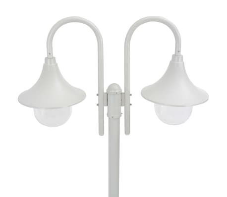 vidaXL Garden Post Light E27 220 cm Aluminium 2-Lantern White[2/6]