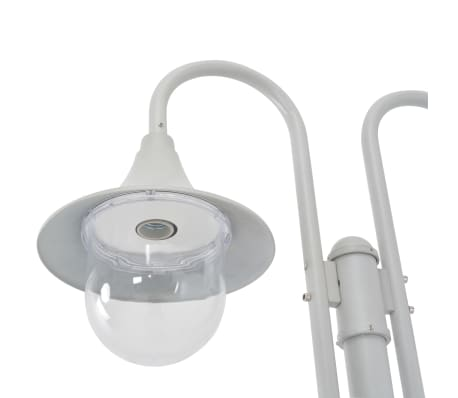 vidaXL Garden Post Light E27 220 cm Aluminium 2-Lantern White[3/6]