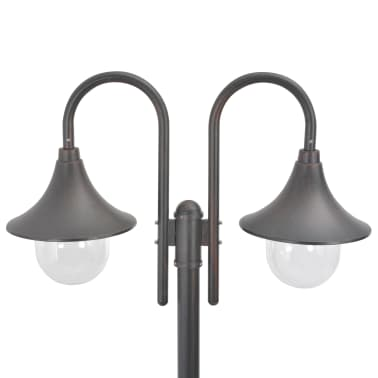 vidaXL Garden Post Light E27 220 cm Aluminium 2-Lantern Bronze[3/6]