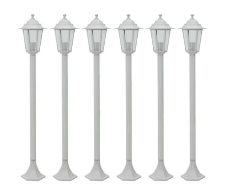 vidaXL Garden Post Lights 6 pcs E27 110 cm Aluminium White