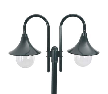 vidaXL Vrtna dvostruka stupna svjetiljka od aluminija E27 220 cm tamno zelena[2/6]