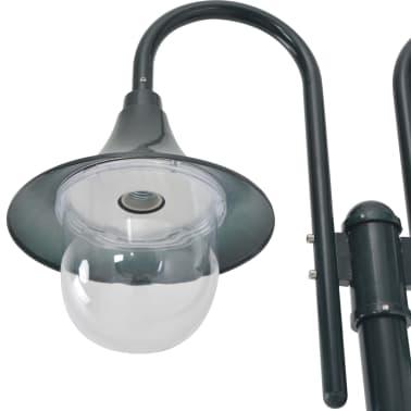 vidaXL Vrtna dvostruka stupna svjetiljka od aluminija E27 220 cm tamno zelena[3/6]