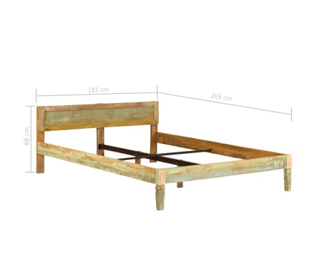 vidaXL Bed Frame Solid Mango Wood 180x200 cm 6FT Super King[15/15]