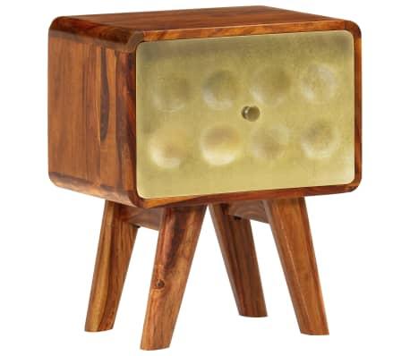 vidaXL Sängbord massivt sheshamträ med guldtryck 49x40x30 cm