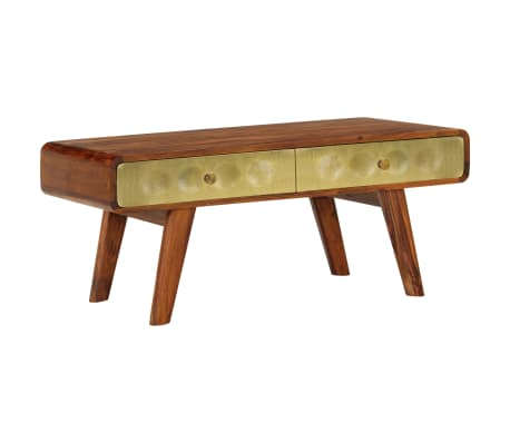 vidaXL Coffee Table Solid Sheesham Wood with Golden Print 90x50x40 cm