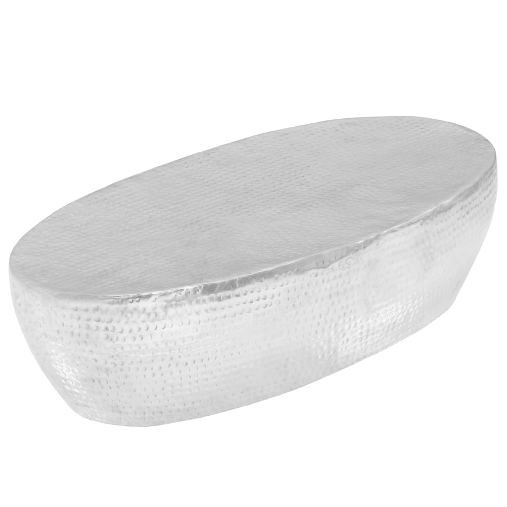 vidaXL Măsuță cafea, argintiu, 100x50x28 cm aluminiu bătut la ciocan poza vidaxl.ro