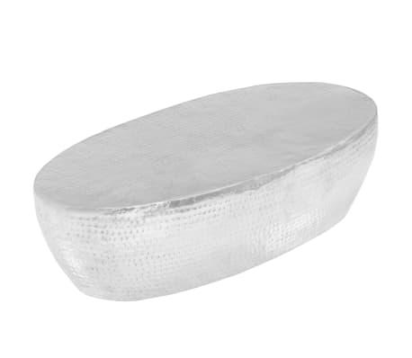 vidaXL Kavos staliukas, sidabrinės sp., 100x50x28cm, aliuminis, kaltas