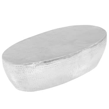 vidaXL Kavos staliukas, sidabrinės sp., 100x50x28cm, aliuminis, kaltas[1/8]