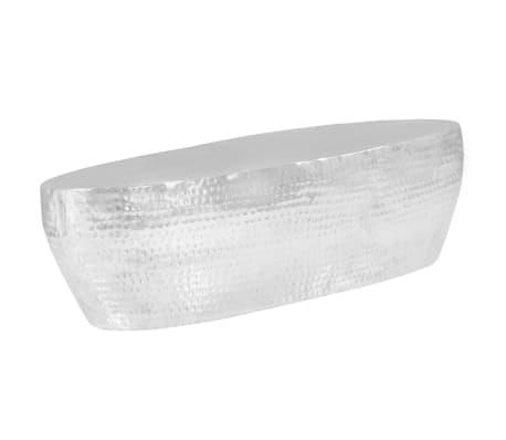 vidaXL Kavos staliukas, sidabrinės sp., 100x50x28cm, aliuminis, kaltas[3/8]