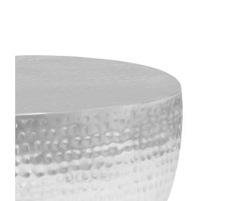 vidaXL Kavos staliukas, sidabrinės sp., 100x50x28cm, aliuminis, kaltas[7/8]