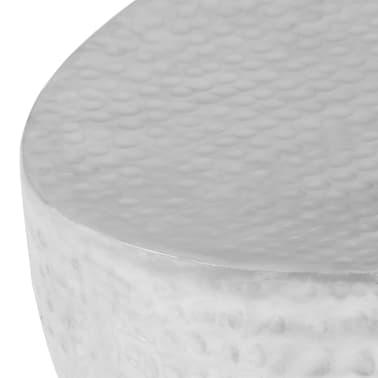 vidaXL Kavos staliukas, sidabrinės sp., 100x50x28cm, aliuminis, kaltas[6/8]