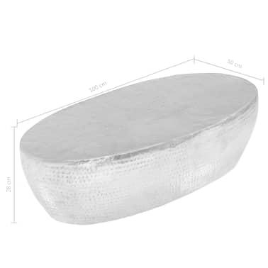 vidaXL Kavos staliukas, sidabrinės sp., 100x50x28cm, aliuminis, kaltas[8/8]