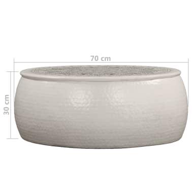 vidaXL Konferenční stolek bílý 70 x 30 cm tlučený hliník[6/6]