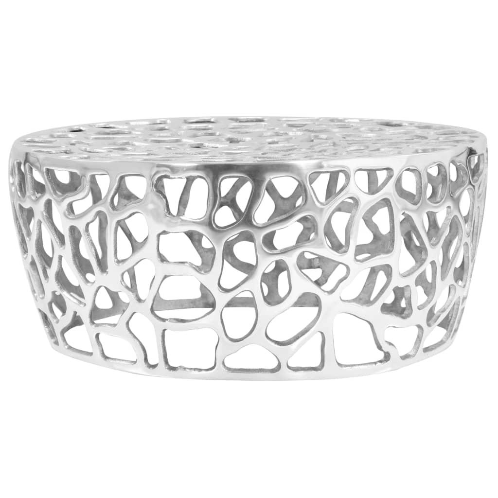 vidaXL Stolik do kawy z odlewanego aluminium, 70 x 30 cm, srebrny