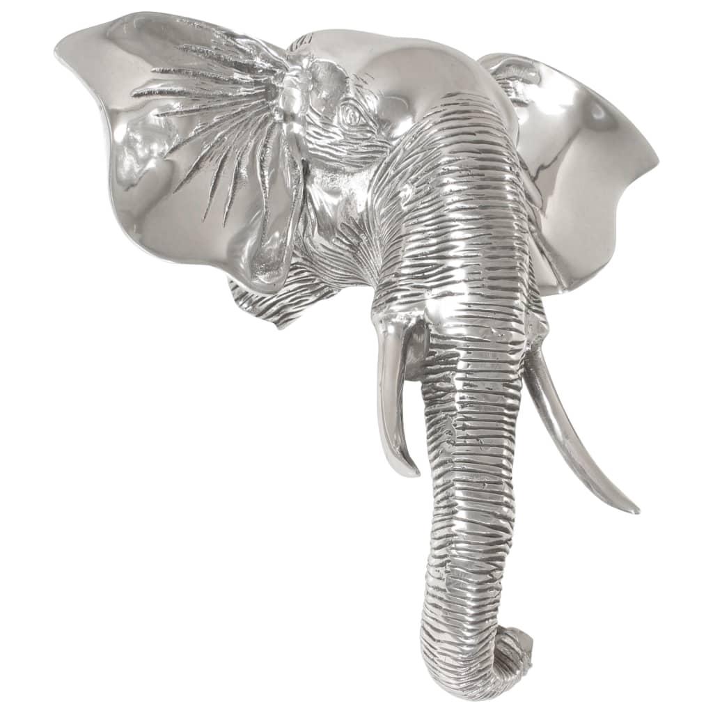 Afbeelding van vidaXL Olifantenkop beeld 38x19x36 cm massief aluminium zilver