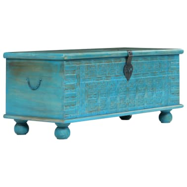 vidaXL Coffre de rangement Bois de manguier massif 100x40x41 cm Bleu[1/15]