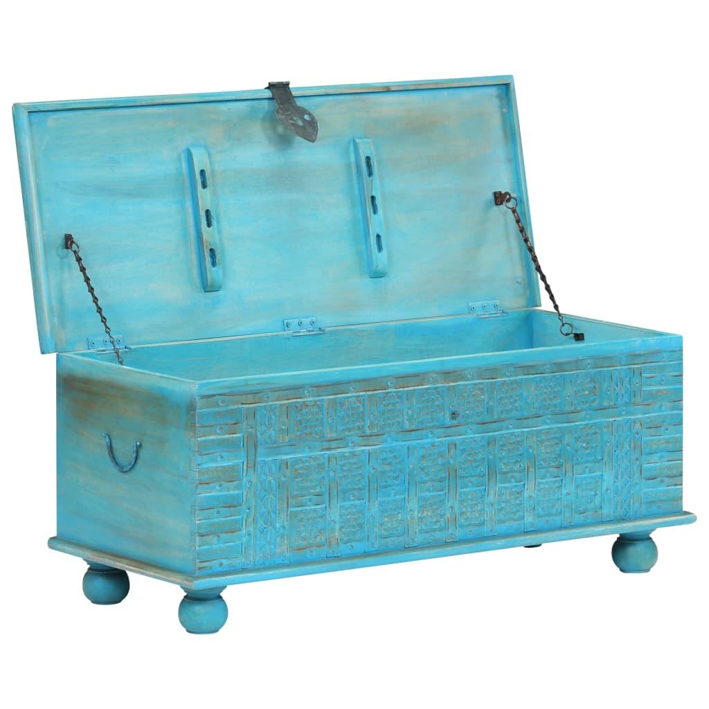 Hoiukast, toekast mangopuidust, sinine, 100 x 40 x 41 cm