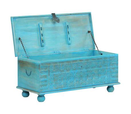 vidaXL Coffre de rangement Bois de manguier massif 100x40x41 cm Bleu[2/15]
