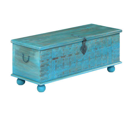 vidaXL Coffre de rangement Bois de manguier massif 100x40x41 cm Bleu[13/15]