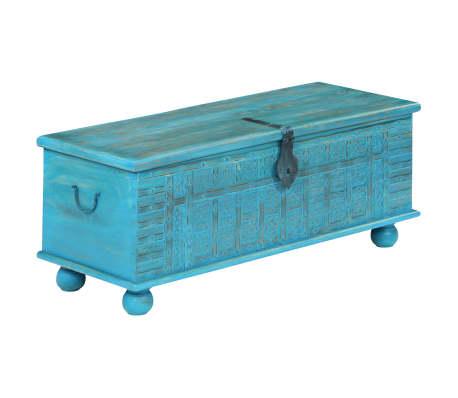 vidaXL Coffre de rangement Bois de manguier massif 100x40x41 cm Bleu[14/15]