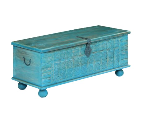 vidaXL Coffre de rangement Bois de manguier massif 100x40x41 cm Bleu[15/15]