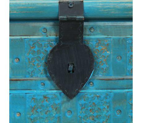 vidaXL Coffre de rangement Bois de manguier massif 100x40x41 cm Bleu[8/15]