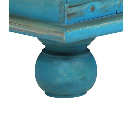 vidaXL Coffre de rangement Bois de manguier massif 100x40x41 cm Bleu[9/15]