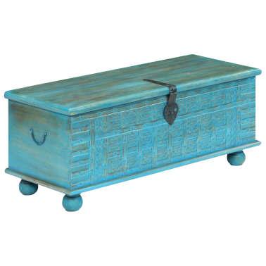 vidaXL Coffre de rangement Bois de manguier massif 100x40x41 cm Bleu[11/15]