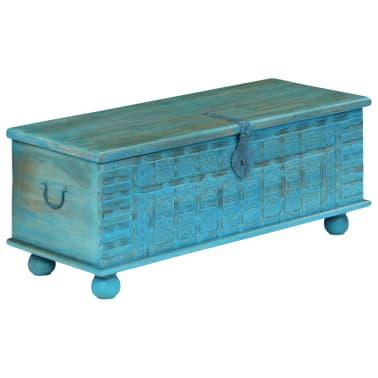vidaXL Coffre de rangement Bois de manguier massif 100x40x41 cm Bleu[12/15]