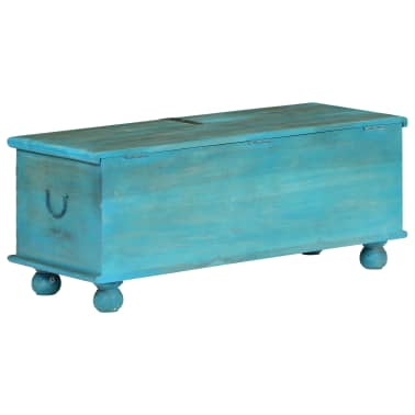 vidaXL Coffre de rangement Bois de manguier massif 100x40x41 cm Bleu[5/15]