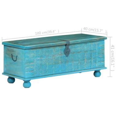 vidaXL Coffre de rangement Bois de manguier massif 100x40x41 cm Bleu[10/15]