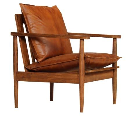 vidaXL atpūtas krēsls, brūna dabīgā āda, akācijas koks-picture