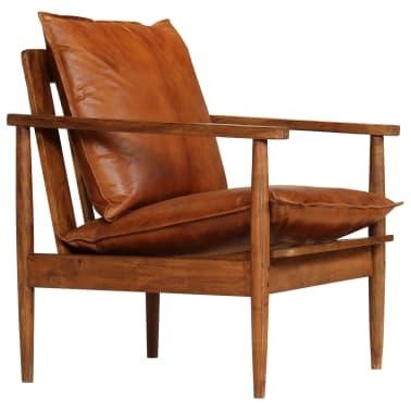 vidaXL Sillón de cuero auténtico con madera de acacia marrón[1/14]