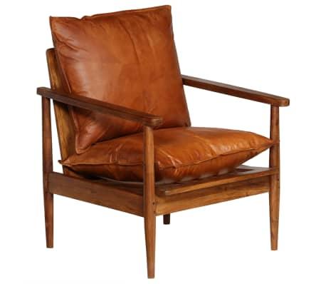 vidaXL Sillón de cuero auténtico con madera de acacia marrón[13/14]