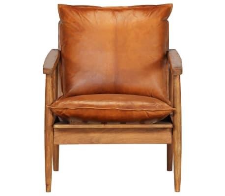 vidaXL Sillón de cuero auténtico con madera de acacia marrón[3/14]