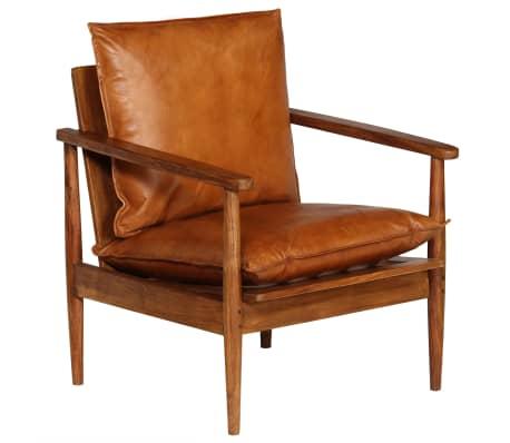vidaXL Sillón de cuero auténtico con madera de acacia marrón[10/14]