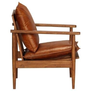 vidaXL Sillón de cuero auténtico con madera de acacia marrón[2/14]