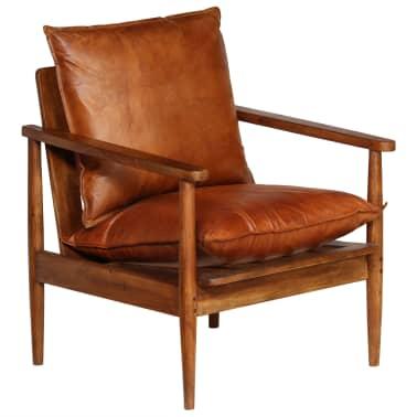 vidaXL Sillón de cuero auténtico con madera de acacia marrón[11/14]