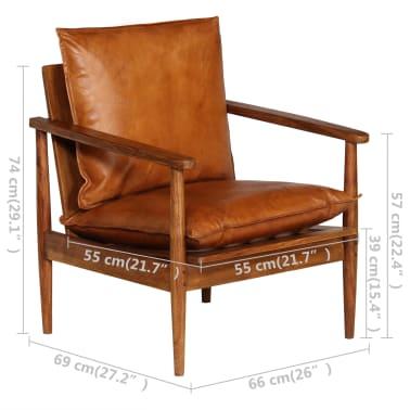 vidaXL Sillón de cuero auténtico con madera de acacia marrón[14/14]
