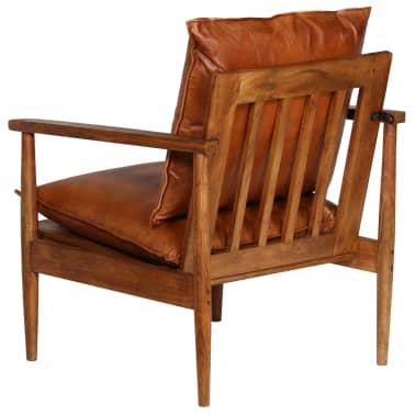 vidaXL Sillón de cuero auténtico con madera de acacia marrón[5/14]