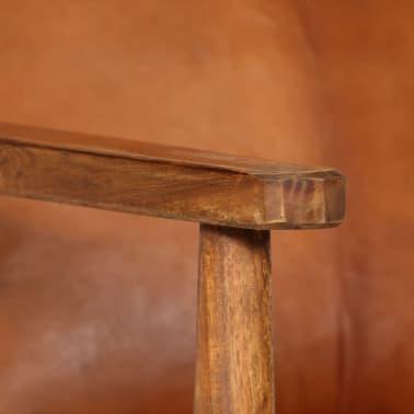 vidaXL Sillón de cuero auténtico con madera de acacia marrón[7/14]