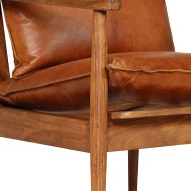 vidaXL Sillón de cuero auténtico con madera de acacia marrón[8/14]