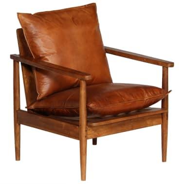 vidaXL Sillón de cuero auténtico con madera de acacia marrón[9/14]