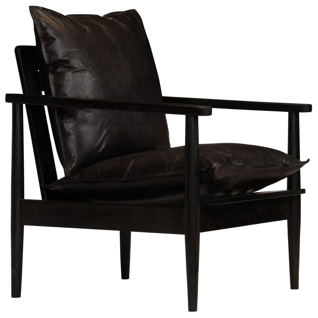 vidaXL Fotel, czarny, skóra naturalna i drewno akacjowe
