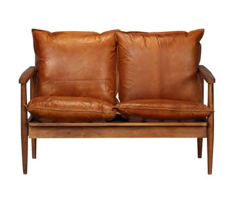 vidaXL Dvivietė sofa, tikra oda ir akacijos mediena, ruda[4/13]