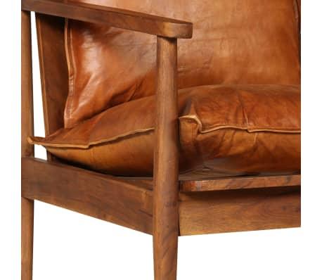 vidaXL Dvivietė sofa, tikra oda ir akacijos mediena, ruda[7/13]
