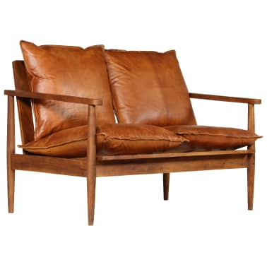 vidaXL Dvivietė sofa, tikra oda ir akacijos mediena, ruda[2/13]
