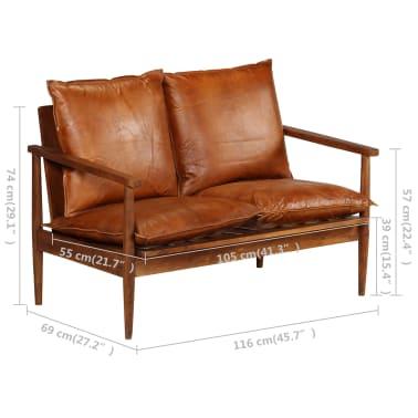 vidaXL Dvivietė sofa, tikra oda ir akacijos mediena, ruda[13/13]